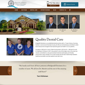 BridgeMill Dentistry website