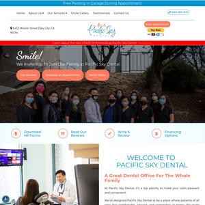 Pacific Sky Dental website