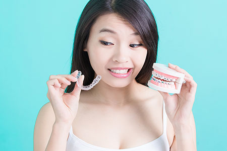 dental patient with invisalign and braces