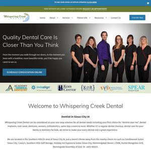 Whispering Creek Dental website